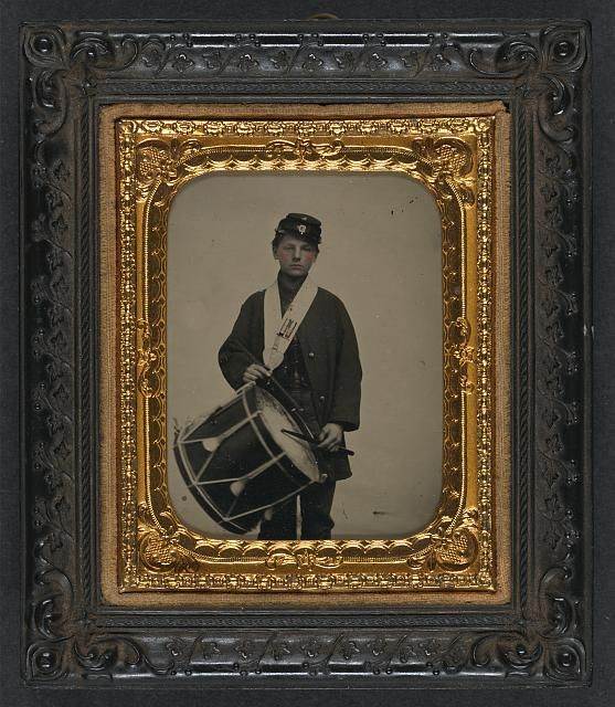 Samuel W. Doble of Company D, 12th Maine Infantry Regiment, with drum