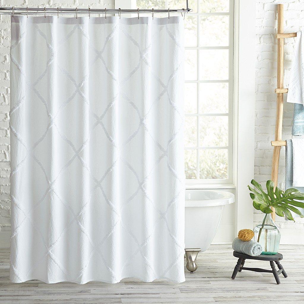 Peri Home Lattice Shower Curtain White 72x72 Curtains