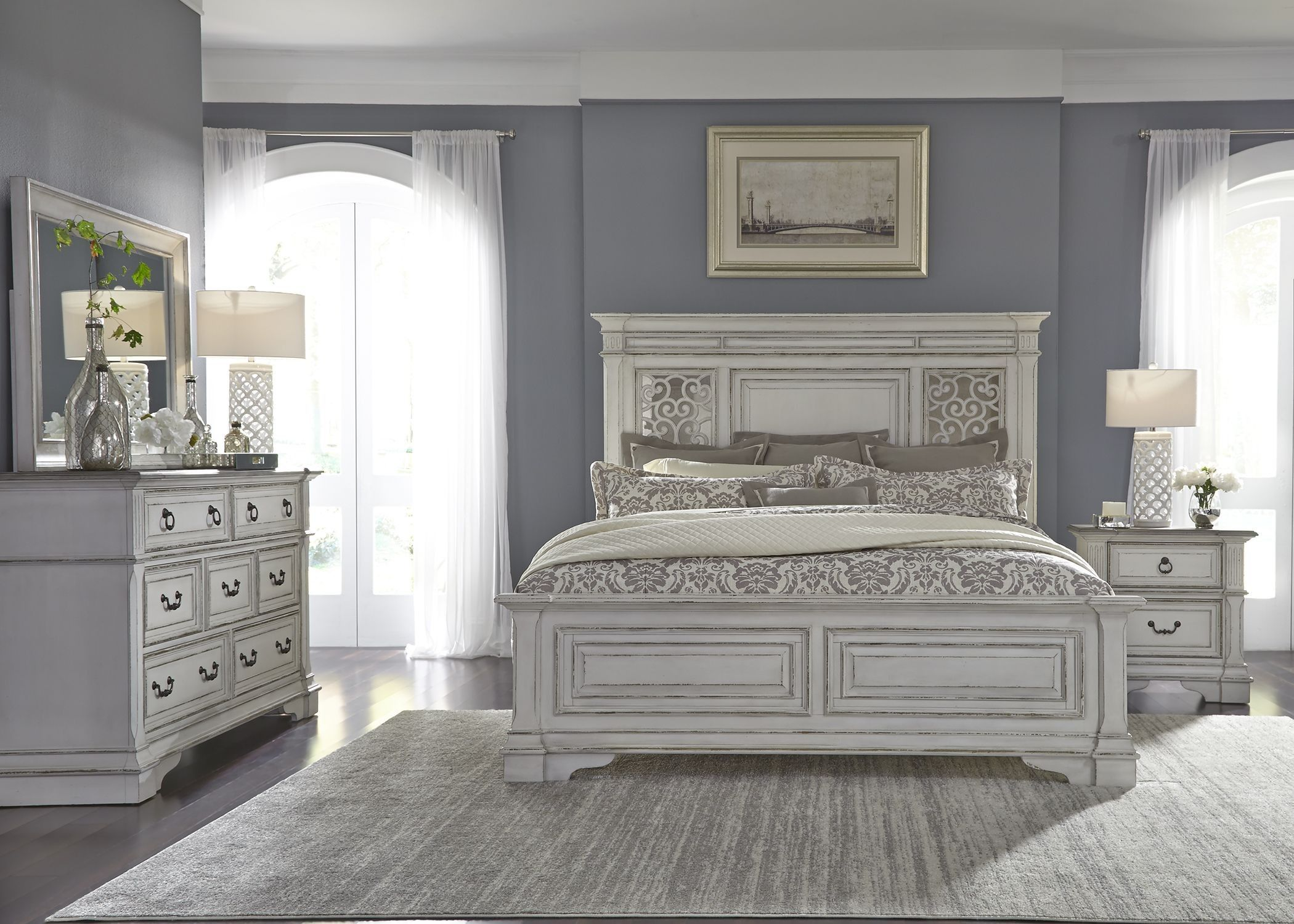 Abbey Park Antique White Panel Bedroom Set in 2019