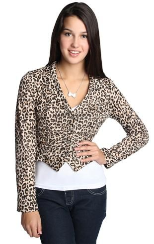 long sleeve leopard print knit blazer with front ruched detail