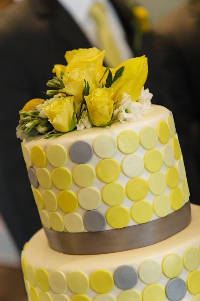 Yellow and grey buttercream and fondant wedding cake. | Kansas City ...