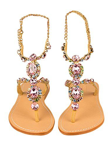 6fc225671 Mystique gold strapped Rose jeweled flat sandals Available up to size 11 7  -- Continue to the product at the image link.