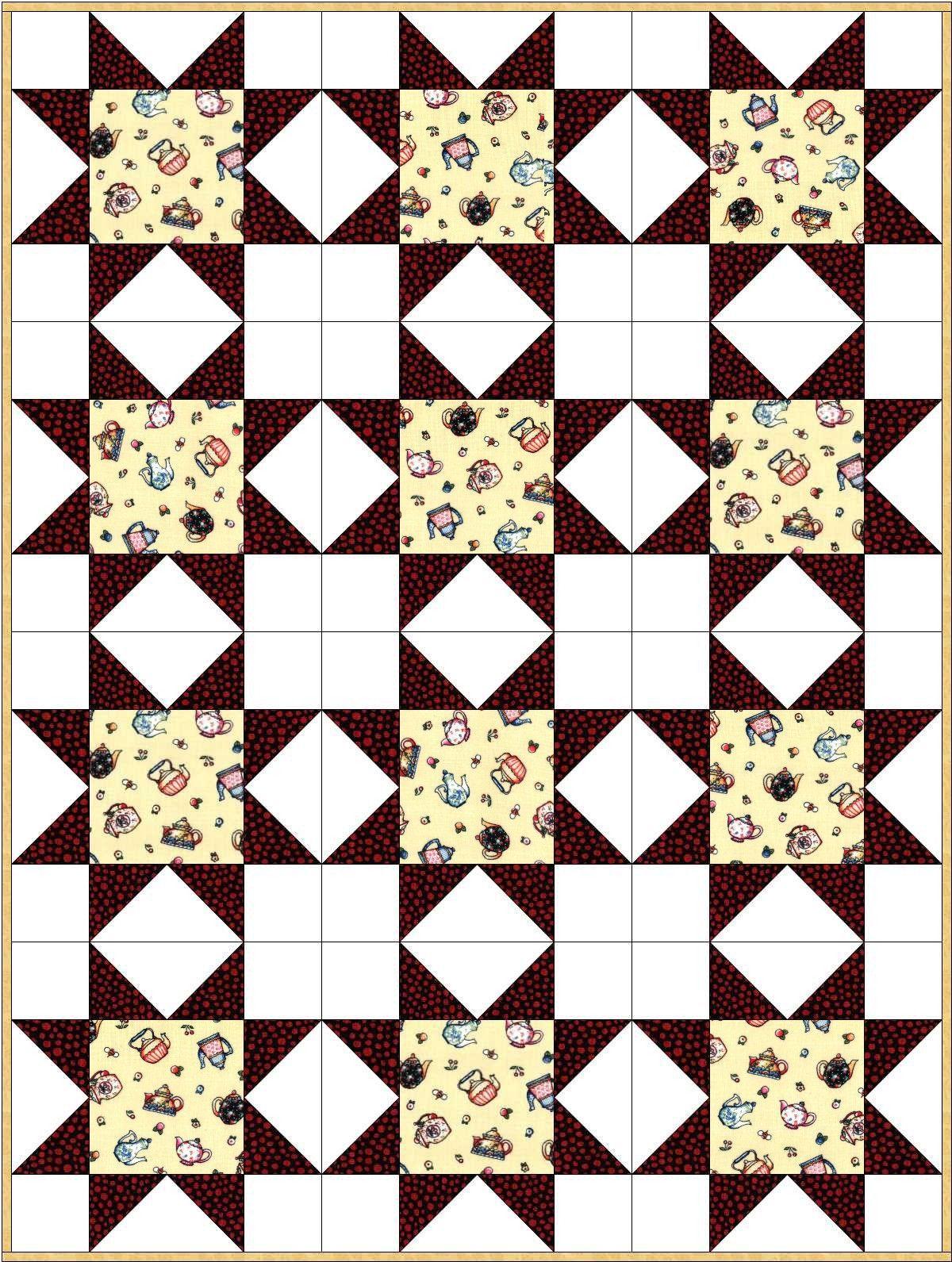 Cup Of Kindness Tea Star Quilt Kit Precut Blocks