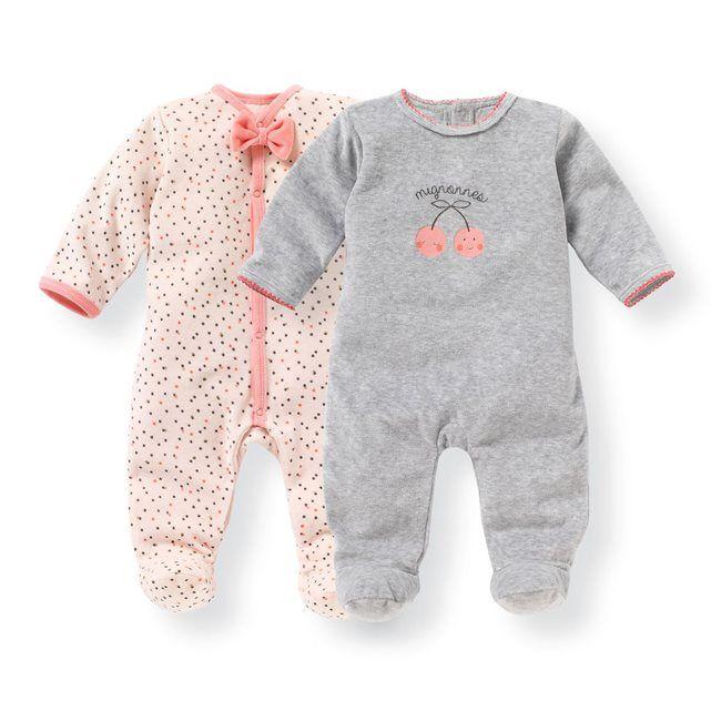 4ee456e10e4fd Lot De 2 Pyjamas Naissance Velours 0 Mois-3 Ans - Taille   1 mois 0 ...