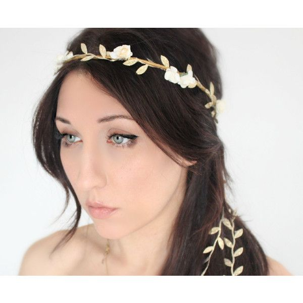 Flower Crown Flower Heardband Wedding Crown Wedding Headband Christmas... (700 NOK) ❤ liked on Polyvore featuring accessories, hair accessories, grey, headbands & turbans, flower garland headband, flower headband, flower garland, flower hair accessories and head wrap headband