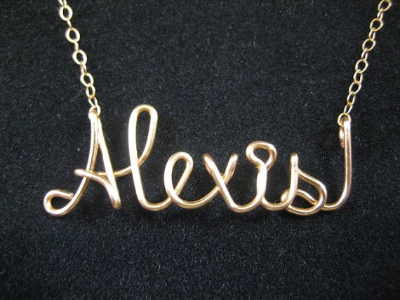 14 karat gold filled personalized name necklace wire name necklace