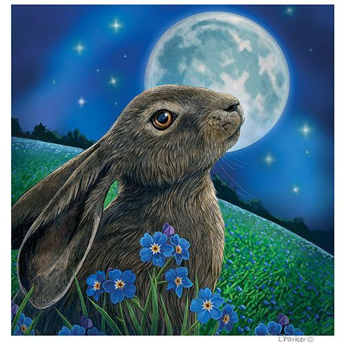 The Moon Gazing Hare Cards Make Perfect Yule Cards Pagan Birthday