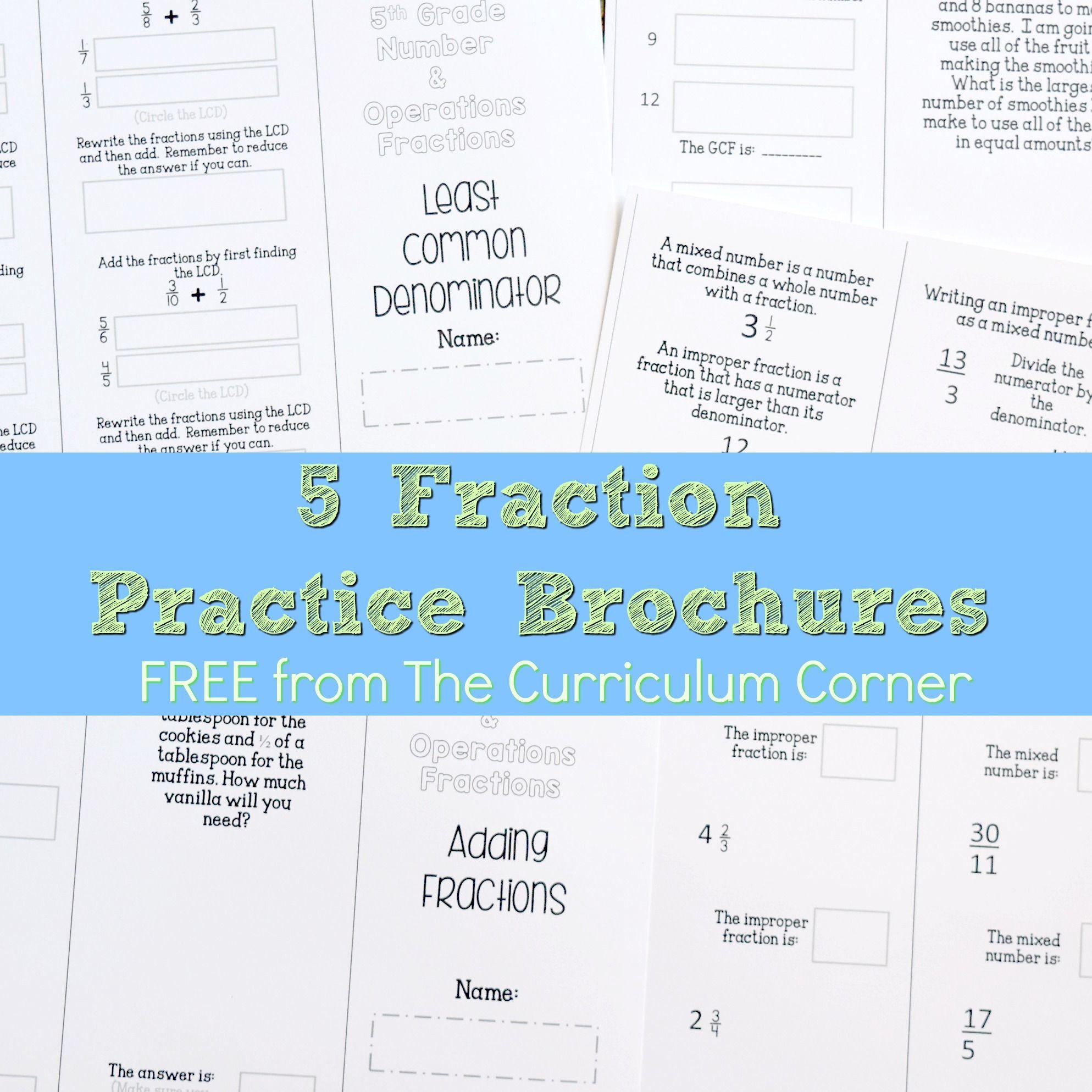 Fraction Practice Brochures In