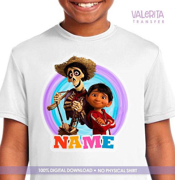 265a6688 Shirt Birthday Disney Coco, Coco Iron On, Coco Movie Printable for Shirt,  Coco Miguel Pixar - Digit