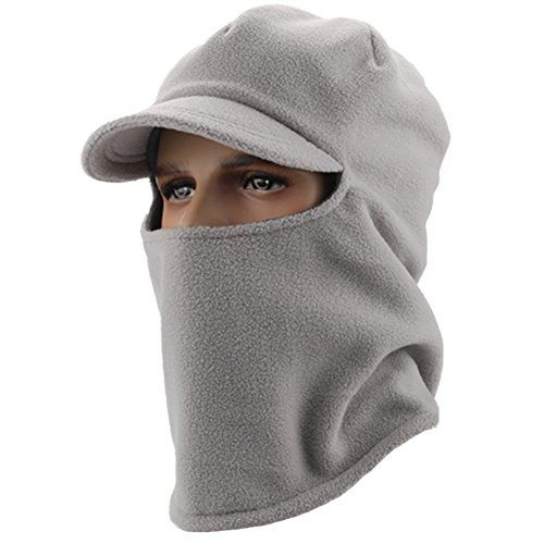 Home Prefer Mens Womens Balaclava Fleece Hood Windproof Face Mask For  Cycling Skull Cap with Visor Ears Covers Neck Warmer Light Gray    Be sure  to check ... 4dfa7dd90