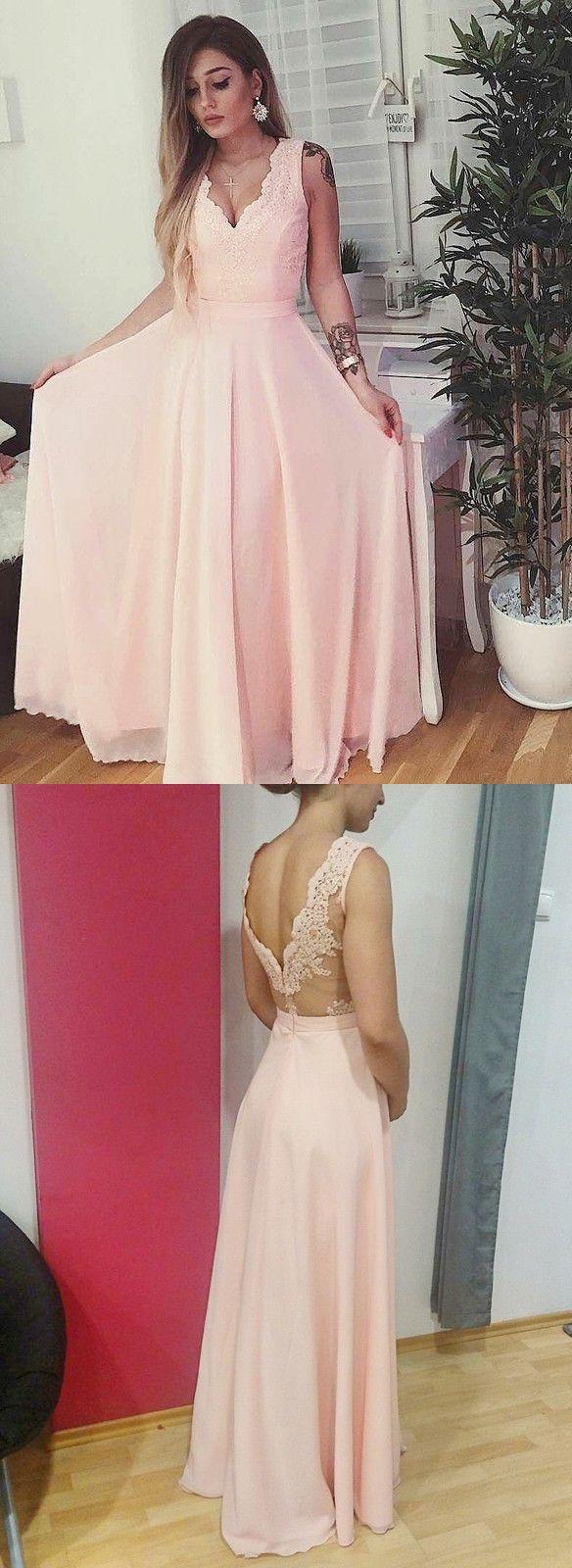 Pink Chiffon Long Prom Dress with Side Slit | Prom | Pinterest ...