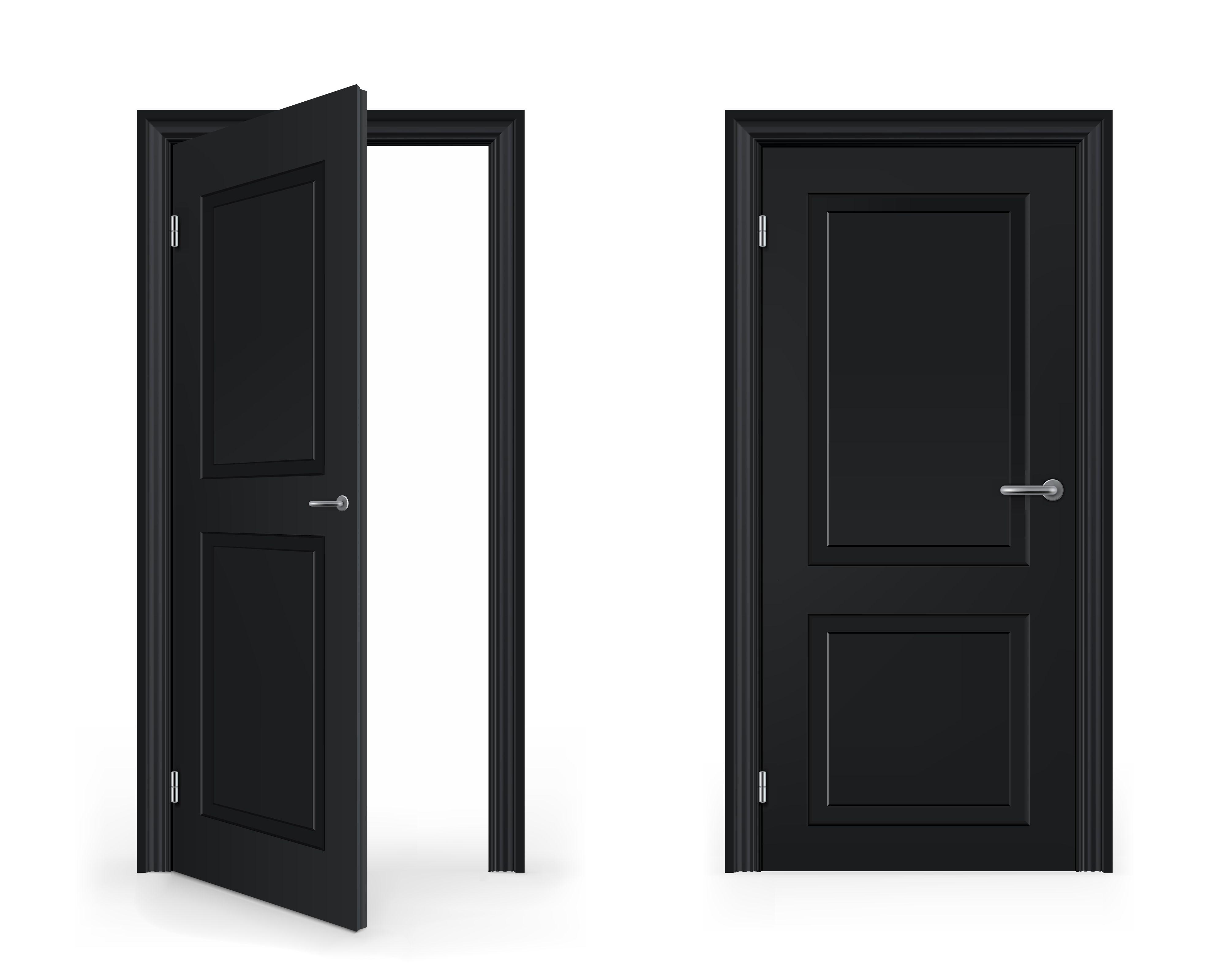 Exterior Open Door Clipart With Open Door Closed Door