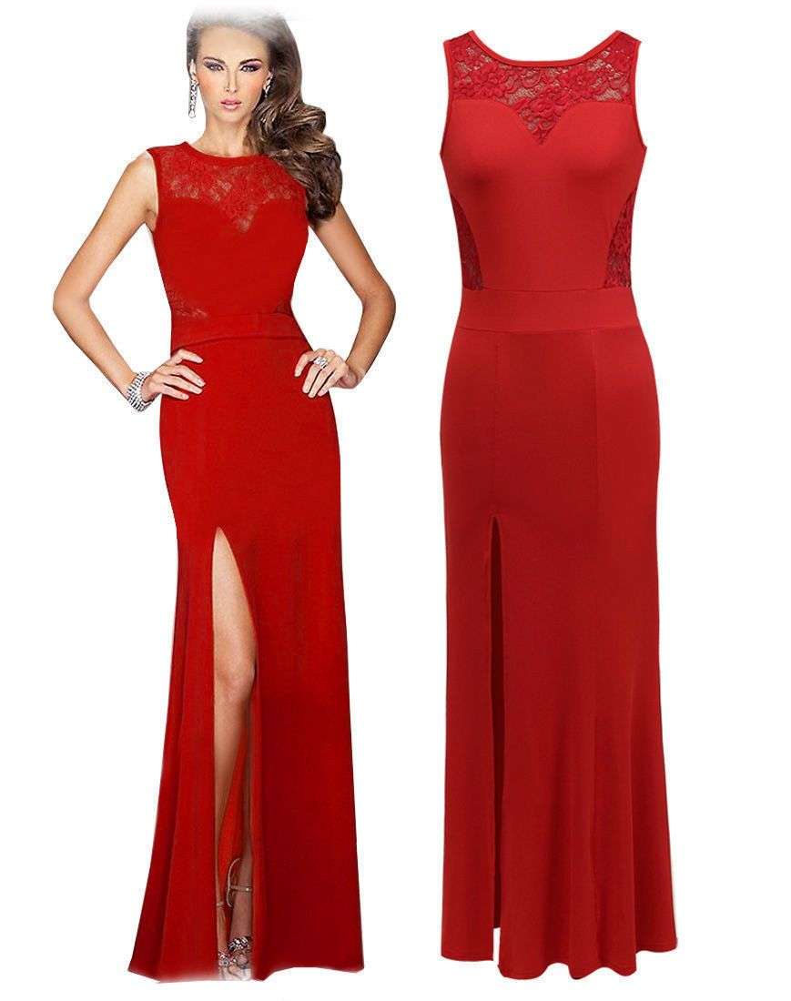 0fab901586f9 Formal Long Cut Party Bodycon Dress Red
