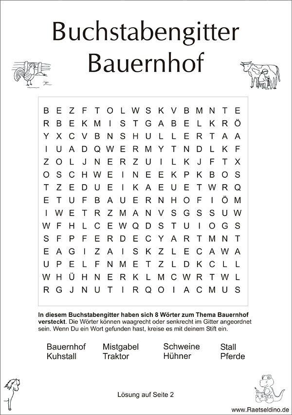 Buchstabengitter Buchstabensalat Für Kinder Zum Thema Bauerenhof