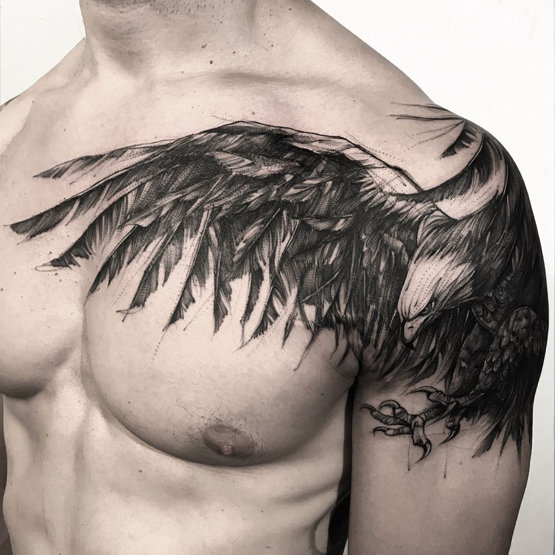 Eagle Cover Up Done At Bk Inkstudio Cool Chest Tattoos Tattoo Gallery For Men Tattoos Gallery