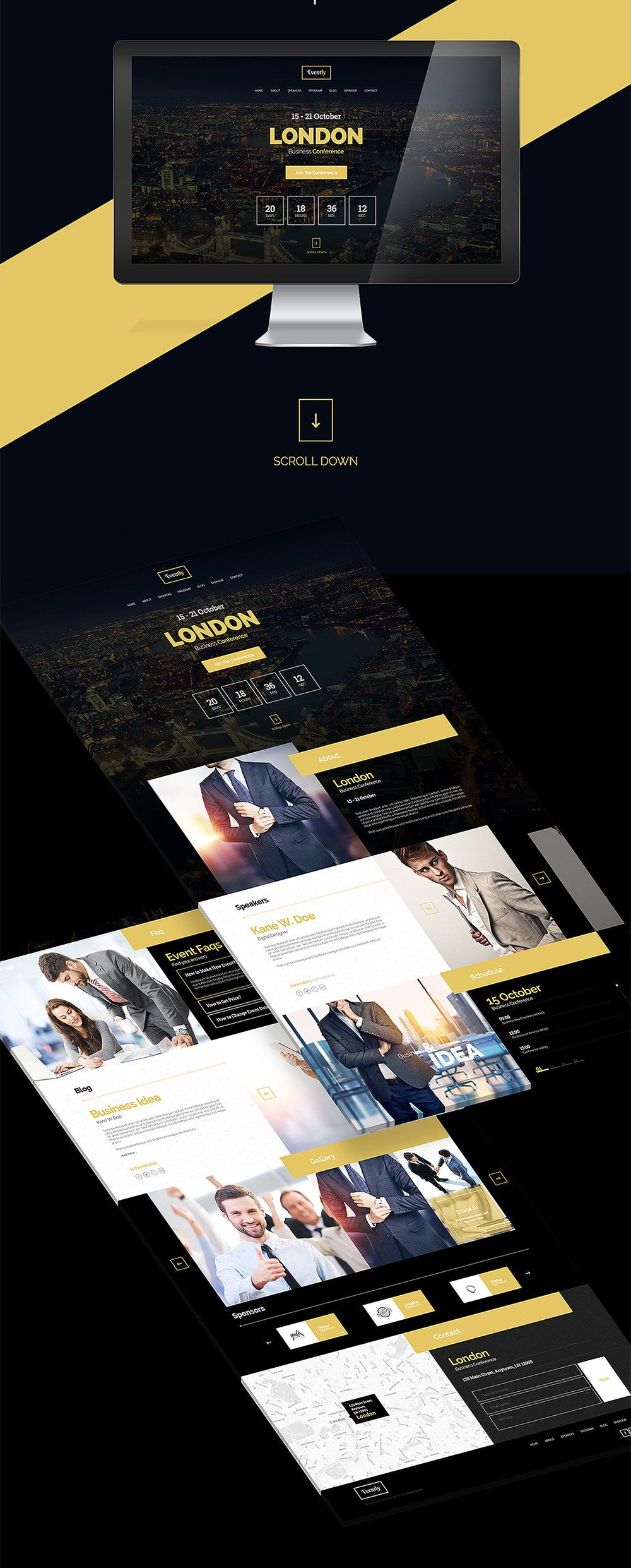 nice business event invitation website template psd download
