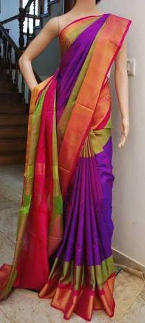 a0e22cfaedfad Uppada Purple with Green Color Silk Saree with Gold color border ...