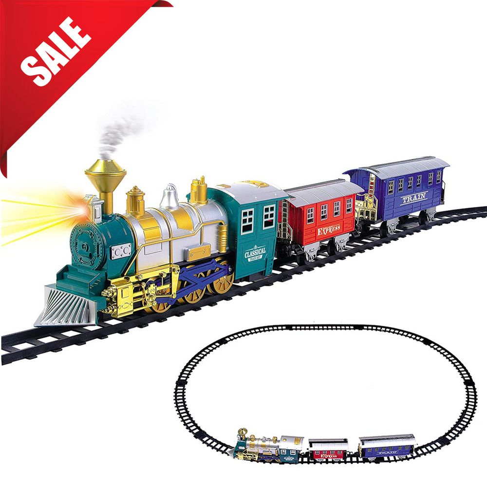 Kids Toy Electric Train Set Battery Operated Real Smoke Childrens Holiday Gift Model Trains Electric Train Sets Toy Trains Storage