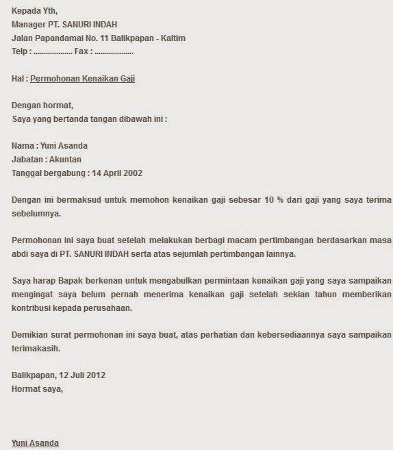 contoh surat pengajuan permohonan kenaikan gaji