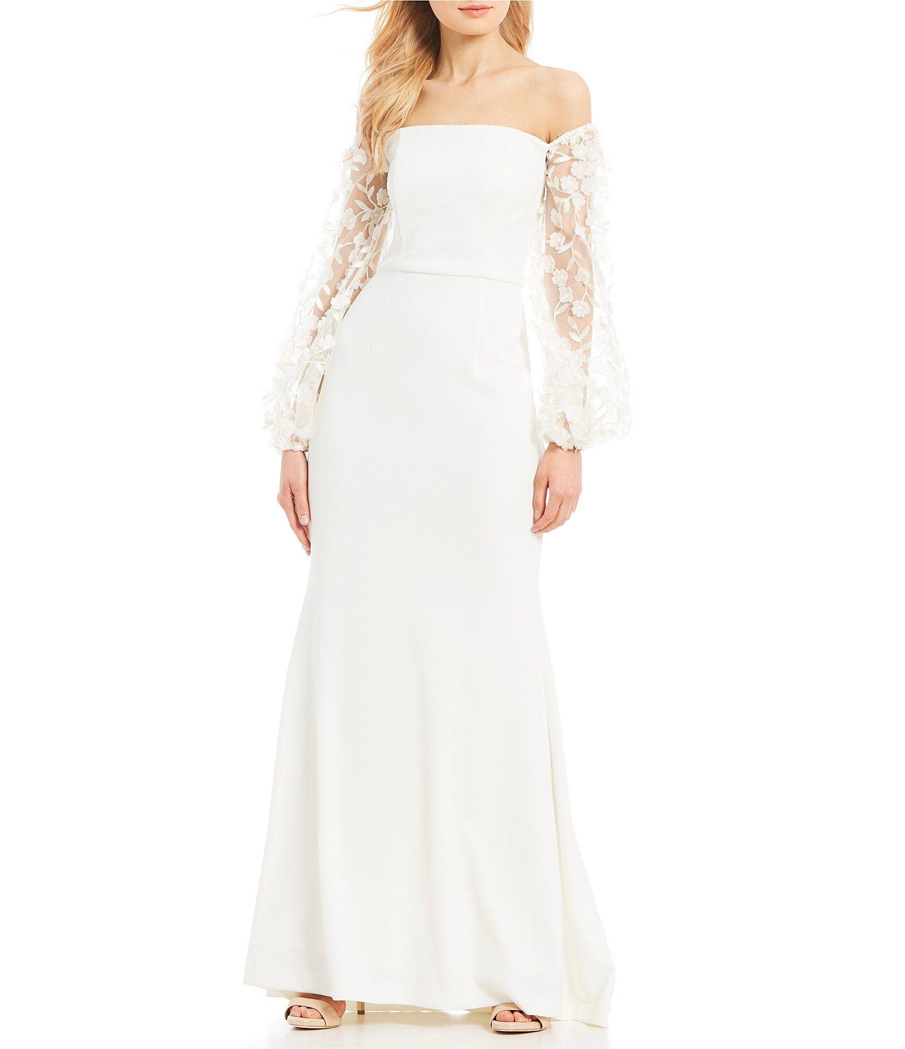 Shop for Eliza J Off the Shoulder Balloon Sleeve Gown at Dillards ...