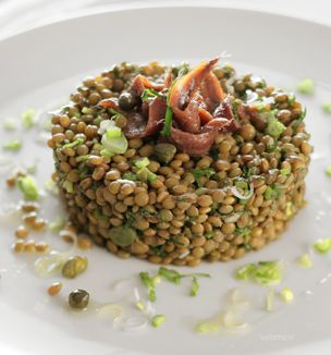 Greek lentil salad with capers and anchovies