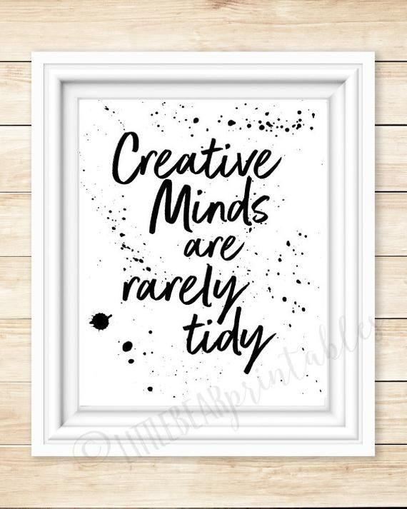 Creative minds are rarely tidy wall art quote messy craft | Etsy