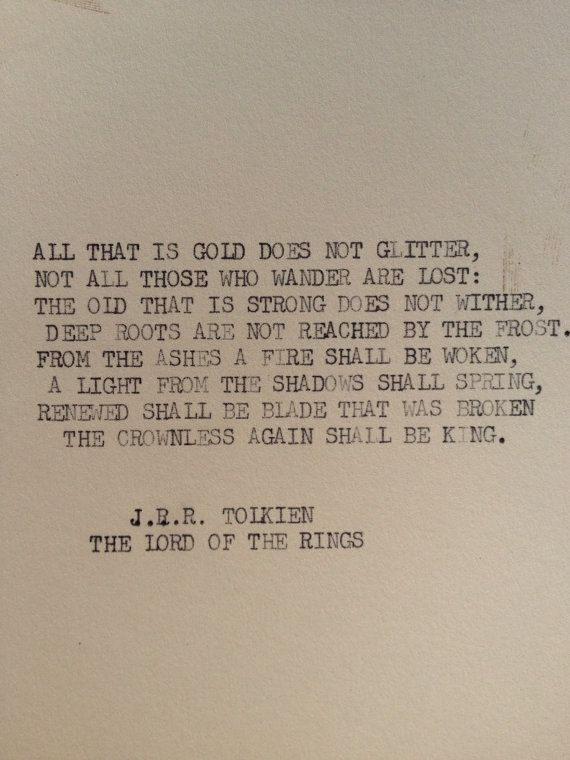 """Lord of the Rings"""" J.R.R. Tolkien typewriter quote on 5 x 7 cardstock from Etsy   Typewriter quotes, Words, Book quotes"""