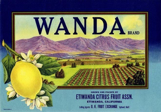 Etiwanda Upland San Bernardino Wanda Lemon Citurs Fruit Crate Label Art Print