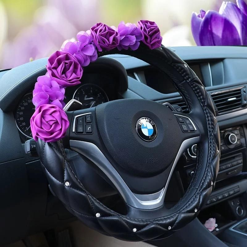 Purple Girly Car Accessories Set Neck Pillow Visor Organizer Tissue Box Gear Shift Brake Cover