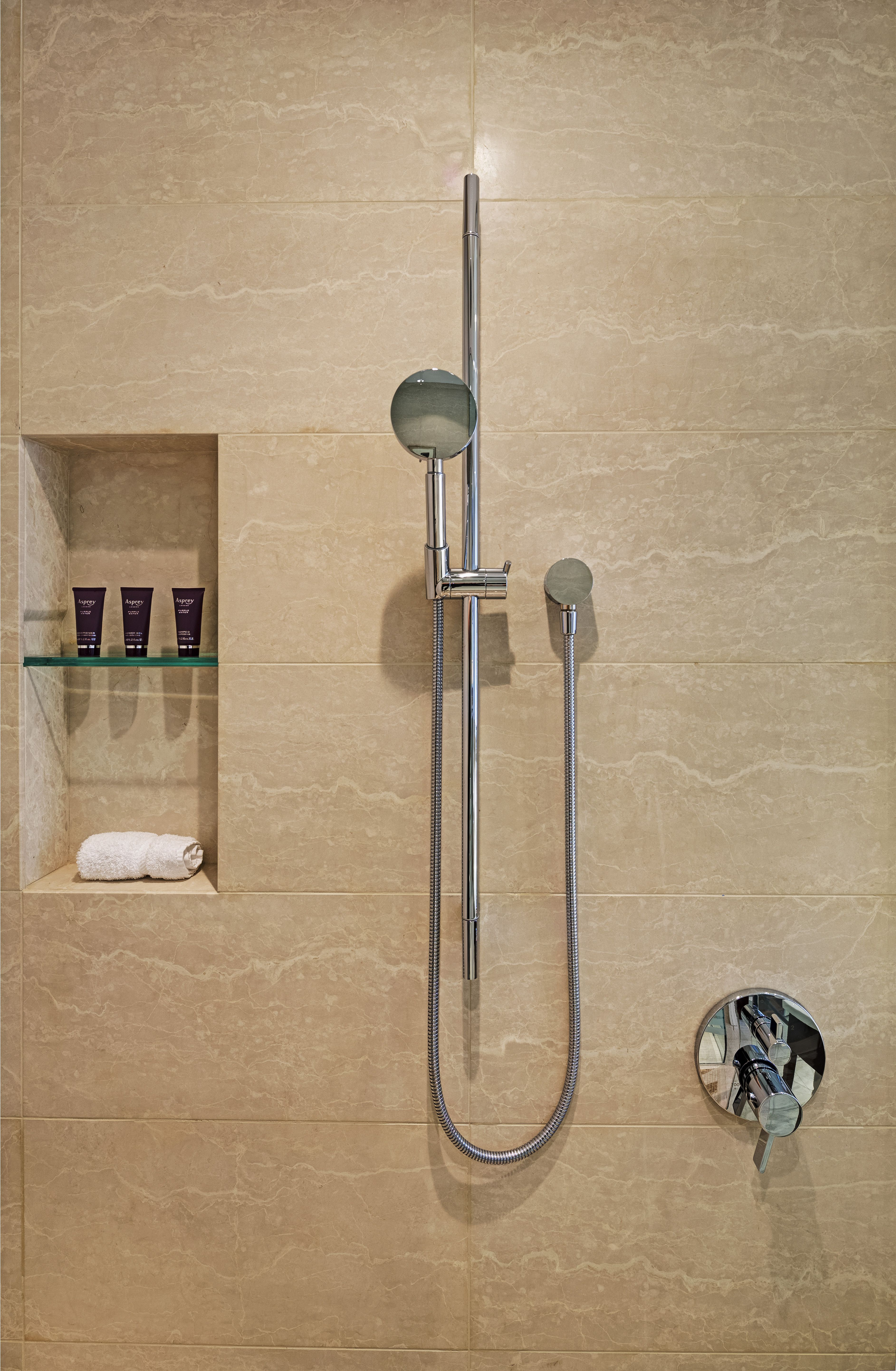 "Axor Starck Wallbar 36"" with the Hansgrohe Raindance S 100"
