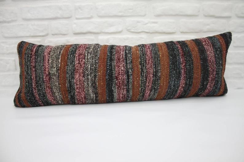 """Black and crimson pillow striped pillow anatolian pillow 12""""x36"""" oversize lumbar organic pillow 30x90 cm big throw pillows cushion cover 486"""