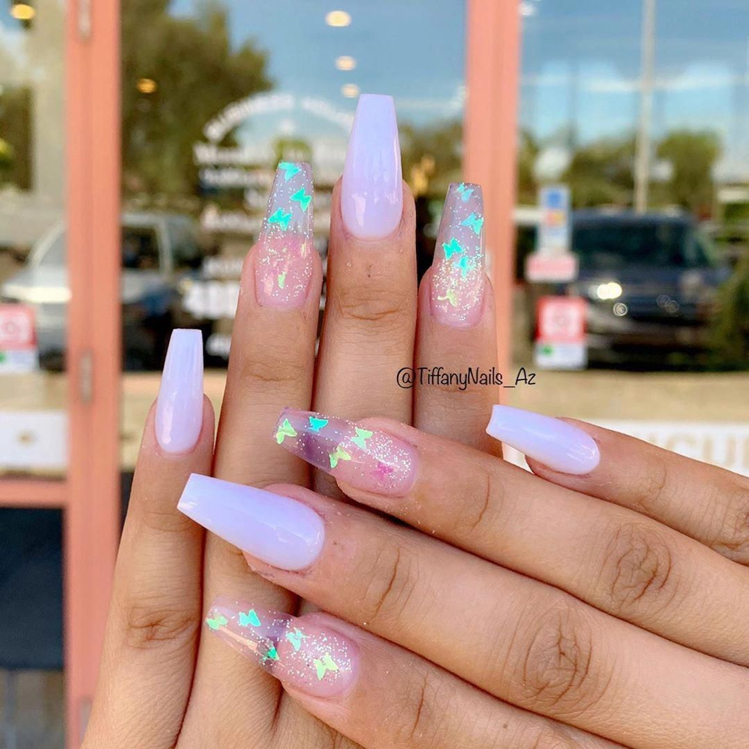 Tiffanynailsaz On Instagram White With Some Butterfly Nailart Mesanails Aznails Gilbertnai Purple Acrylic Nails Pink Acrylic Nails Summer Acrylic Nails