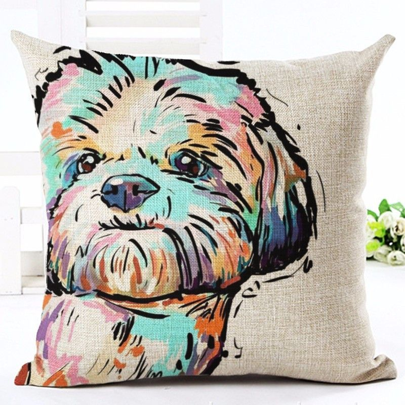 Decorative Cartoon Dogs Linen Pillow Cases Shih Tzu Around The