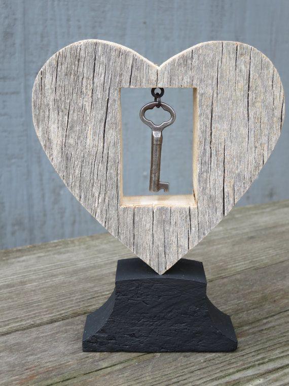 Rustic Wood Heart w/ Dangled Antique Key Barnboard by HopperRoad