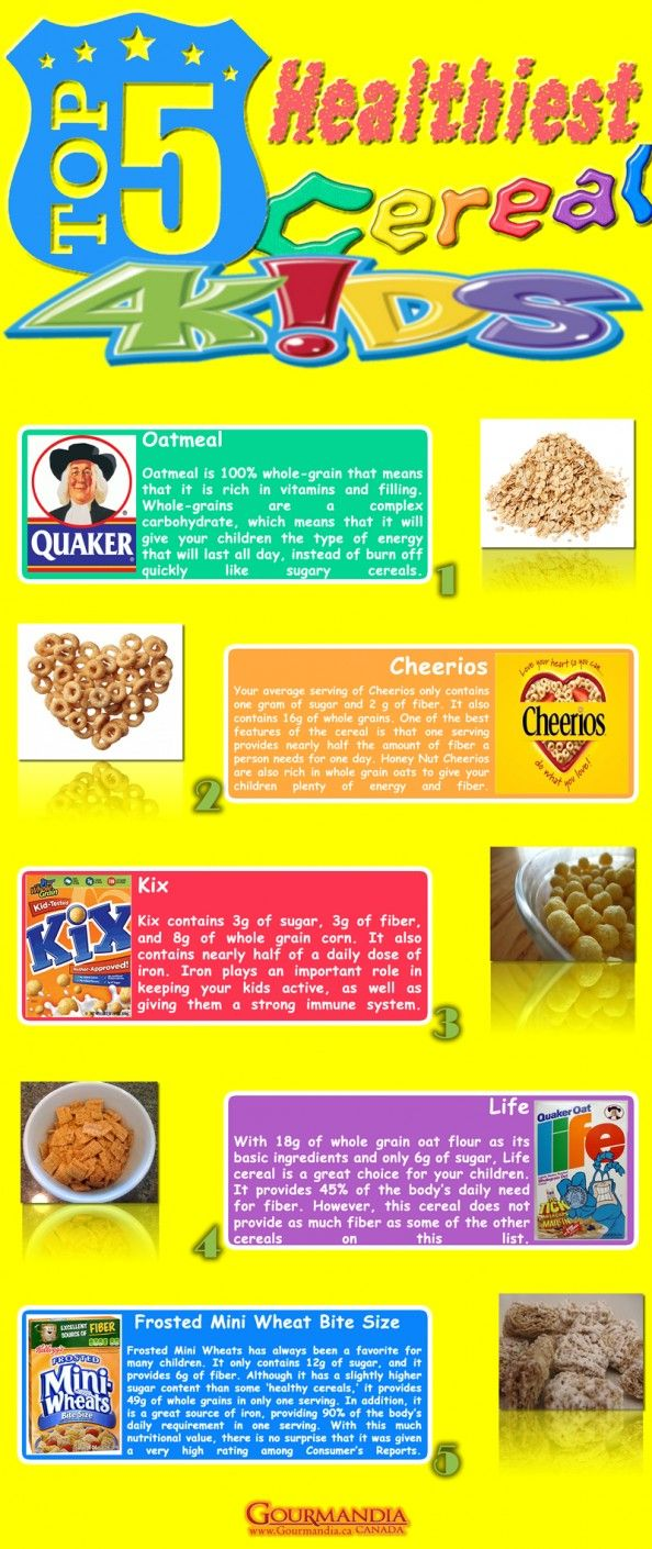 healthiest cereals for kids infographic advertising