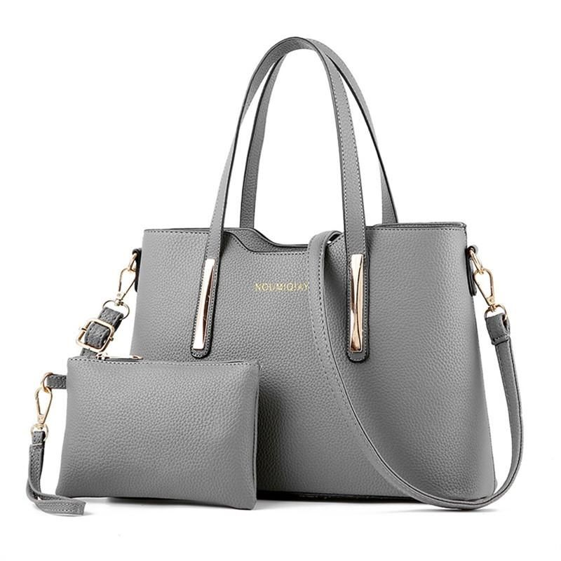 a2c9f2e661 2pcs Womens Leather Shoulder Bag Top-handle Handbags Tote Purse Bags For Girls  Office Ladies