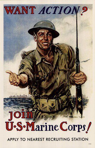Want Marine Corps Action Wwi Recruiting Poster Wwii Posters Us Marine Corps Marine Corps
