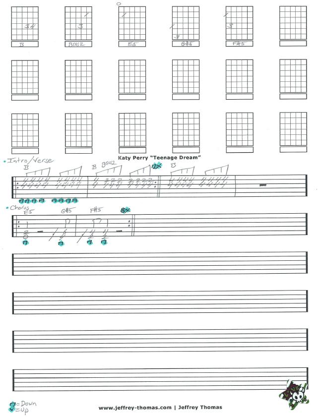 Katy Perry Teenage Dream Guitar Tab By Jeffrey Thomas Learn To Play