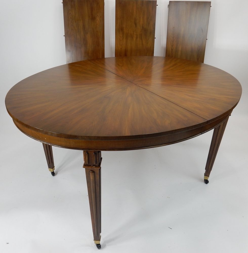 Baker Furniture Co Dining Room Table Flame Mahogany Oval Top Three Leaves 55 Traditional