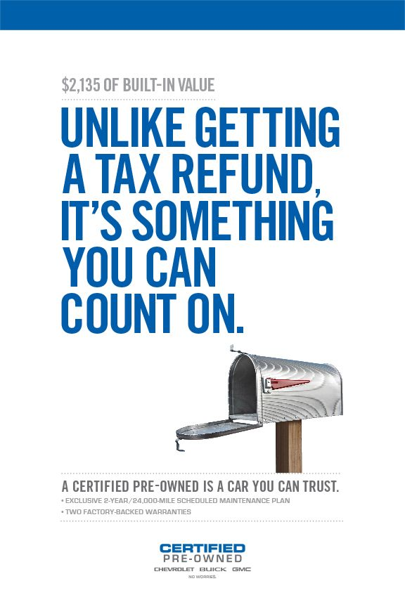Gm Certified Pre Owned Tax Return Poster Tax Refund Graphic