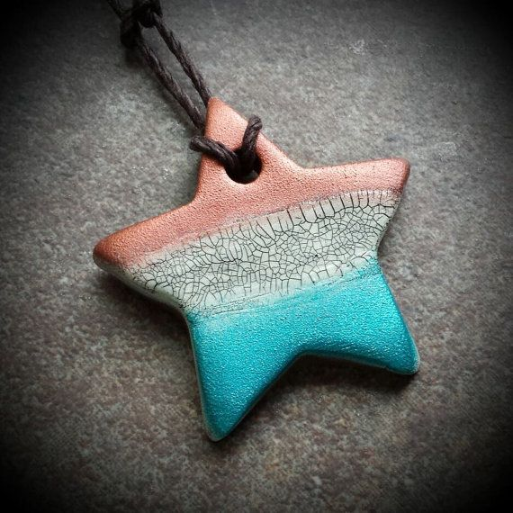Red White and Blue Star Faux Raku Crackle Polymer Pendant by Sandra DeYoung Niese (DandyBeads)