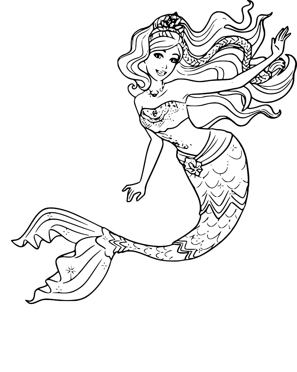 Mermaid Coloring Pages Barbie Best For Kids Simple Free in ...