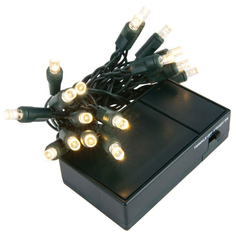 20 Cool White 5mm LED Battery Operated Lights with Green