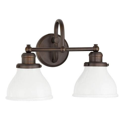Photo of Capital Lighting Fixture Company 8302BB-128 Baxter Two-Light Bath Vanity w / Milk Glass in Burnished Bronze Downlight, Transitional | Bellacor