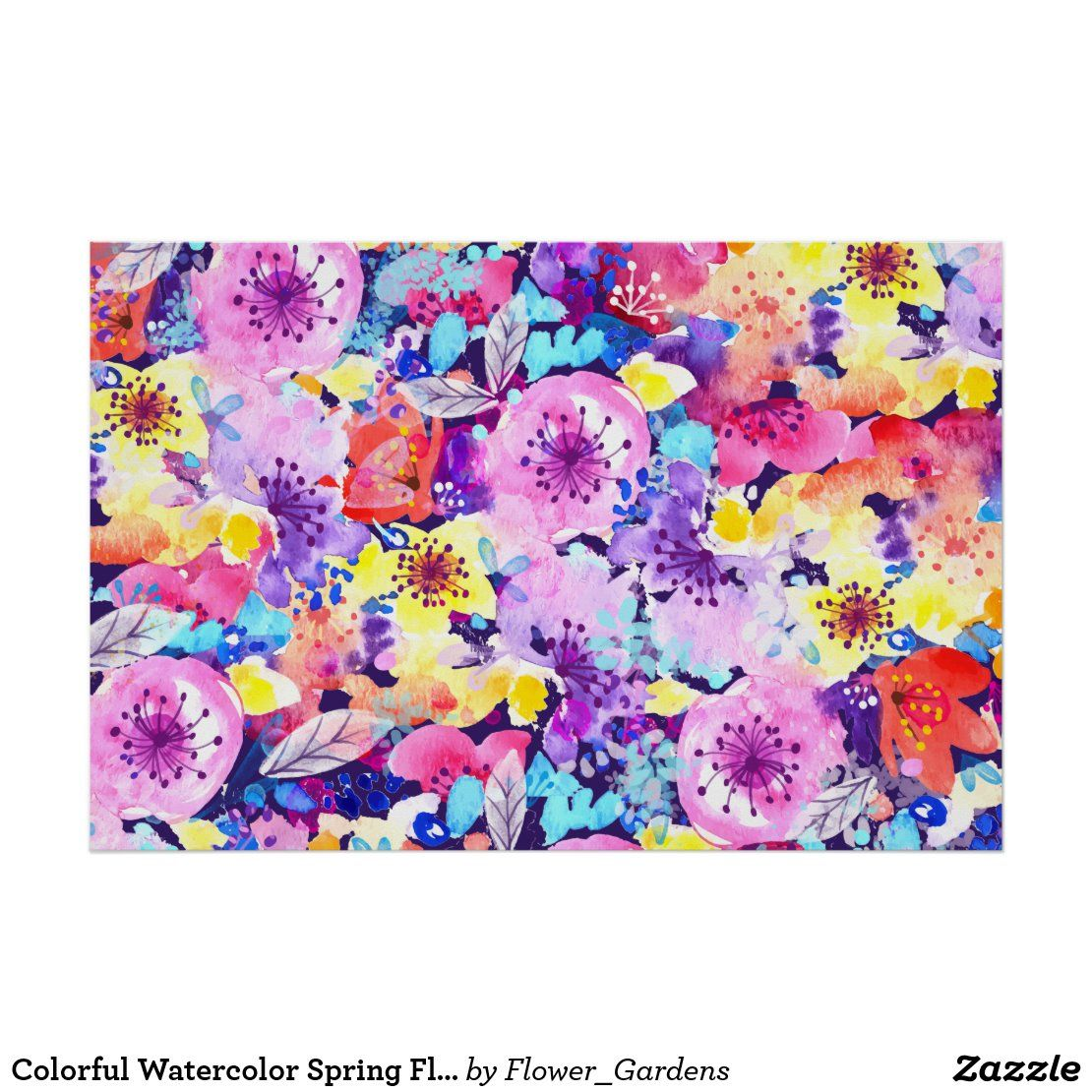 Feel the romance with this colorful watercolor spring flowers pattern. With this floral design, you will feel yourself cute, romantic and in the garden. #zazzle #watercolor #floral #flower #flowers #nature #romantic #spring #bridal  #artprint #gifts #gift #giftideas #design #unique #custom #home #homedecor #decoration #wallart #pillow #curtain #poster #doormat #bathmat #pouf #clock #bedroom #bathroom #livingroom #blanket #duvet