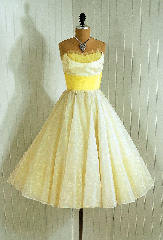 77c7156554f 1950s Vintage Shelf-Bust Strapless Flocked Sunshine-Yellow and Ivory-White  Chiffon Floral-Garden Couture Cummerbund-Bow Rockabilly Circle-Skirt  Wedding ...