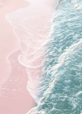 'Soft Teal Blush Ocean 1' Poster Print by Anita's & Bella's Art  | Displate in 2020 | Beach wall col