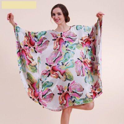 women's faux silk bathrobe 2017 autumn flower print lady robe