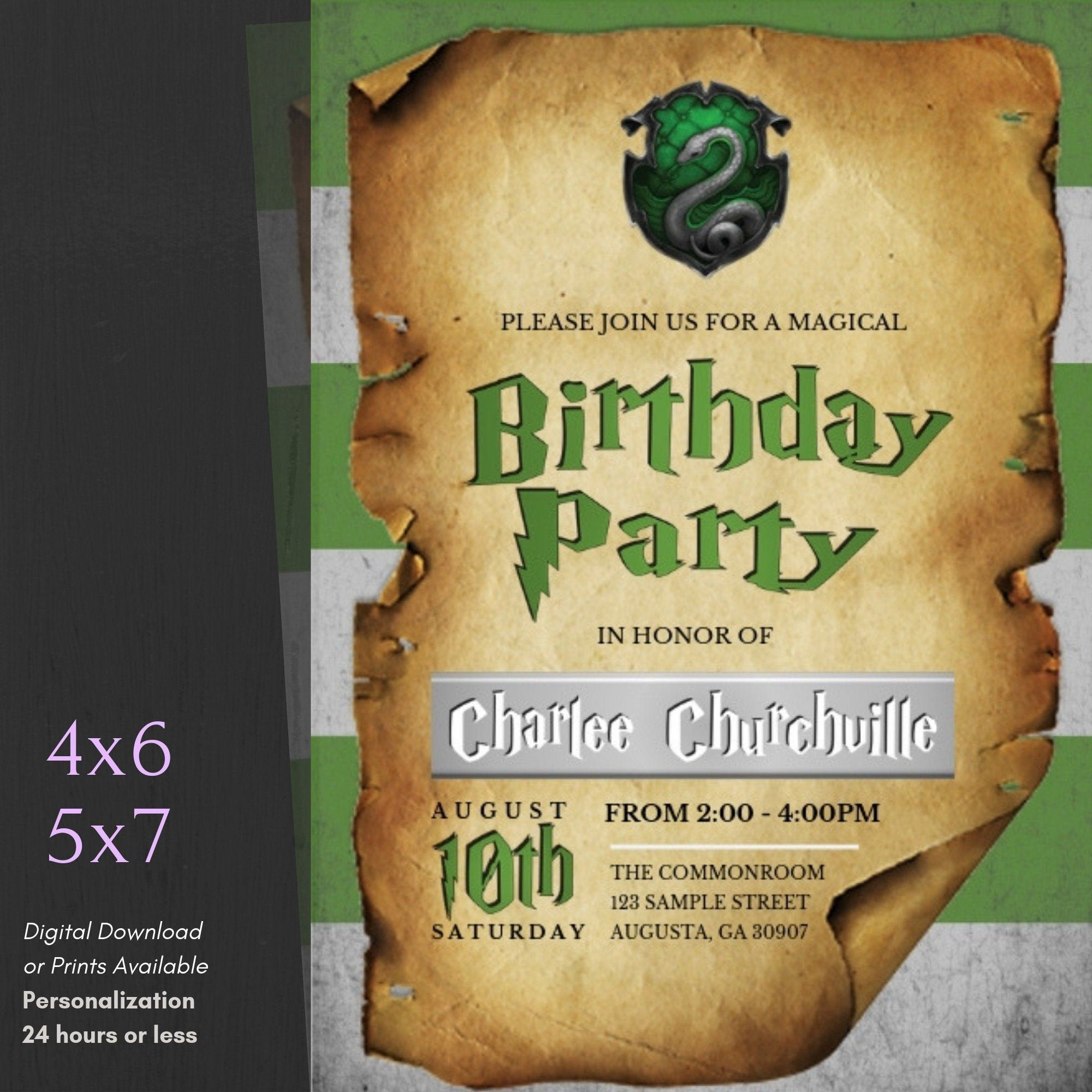 harry potter birthday invitations digital