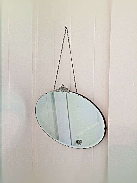 Art Deco Antique Frameless Beveled Edge Round Oval Hanging Wall Mirror Metal Chain Wooden Back Chrome Geometric De Hanging Mirror Mirror Hanging Wall Mirror